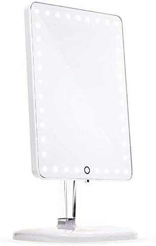 Impressions Touch Pro Makeup Mirror with LED Light and Bluetooth Speaker, Rectangle White Vanity Mirror with USB Charging Port and Standing Base