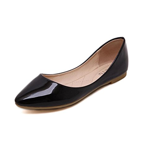 Women's Casual Ballet Slip On Flats Loafers Single Shoes Black - 5