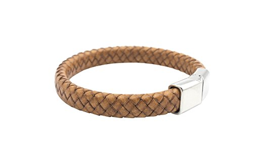 shapesbyX Men Genuine Leather Braided Bangle Bracelet with Silver Closure (Distressed Tan, 8) ()