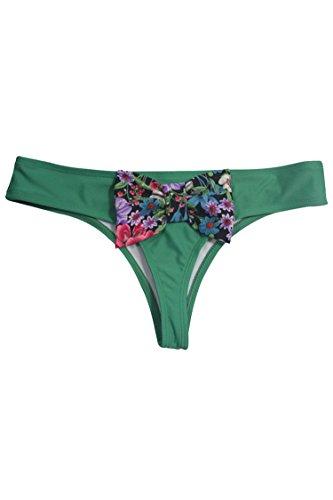 Pink Queen® Women's Candy Color Bow Brazilian Bikini Bottom Swimwear Grass Green M