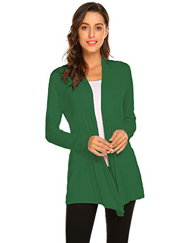 Newchoice Women's Flowy Soft Drape Open Front Cardigans Loose Casual Lightweight Long Sleeve Cardigans Sweaters (Green, M) (Long Sleeve Cardigan For Juniors)