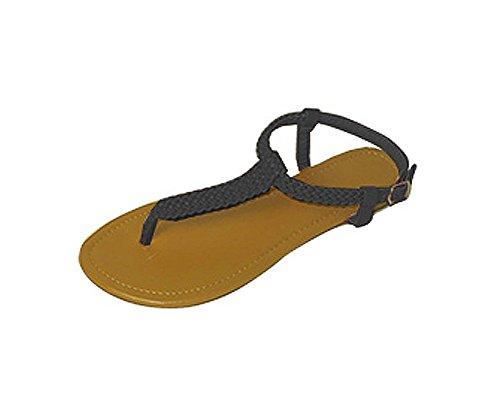 P26 Womens Roman Gladiator Sandals Braided Flats Thongs Shoes (5/6, Black (Roman Female)