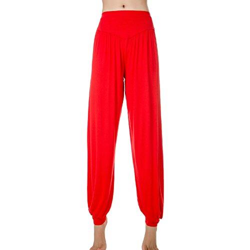 OCHENTA Genuino 95% Modal Deportivo Ropa Suave Mujer Yoga ropa bombachos pantalon Rojo