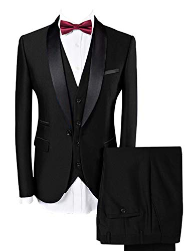 Lilis Men Suit Wedding Suits for Men Shawl Collar 3 Pieces Slim Fit Tuxedo Jacket Pants Vest Set Black