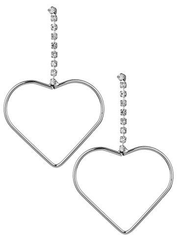 Sheena Silver Diamond Chain with Heart Shap Earrings ER0091