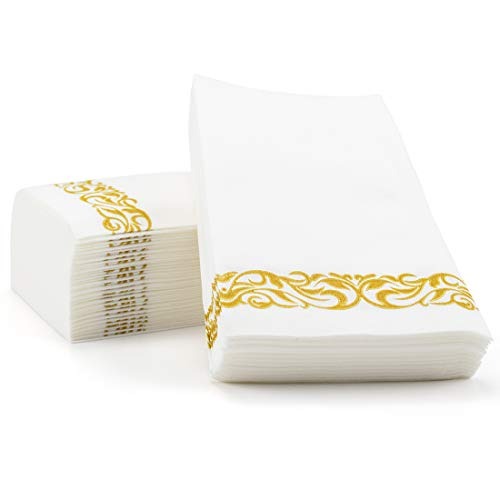 Foraineam Linen-Feel Disposable Hand Towels Decorative Hand Napkins - Floral Paper Guest Towels - Pack of 100