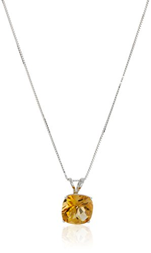 - 14k White Gold Cushion Checkerboard Cut Citrine Pendant Necklace (8mm)