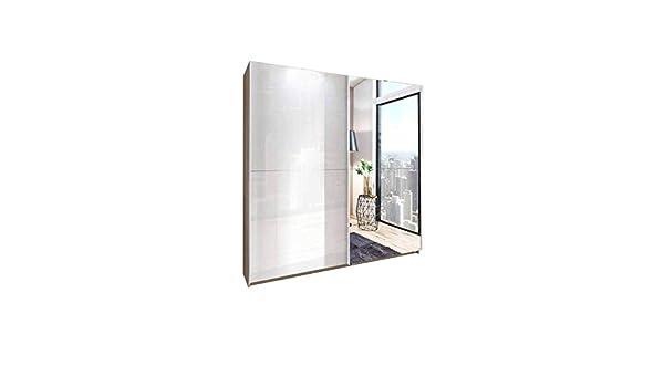 Inside Dressing de Puertas correderas Nikki 180 cm, Color Blanco Crudo/Roble con 1 Espejo: Amazon.es: Hogar