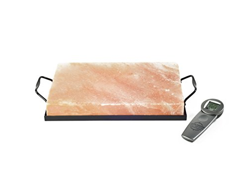 (Charcoal Companion CC6562 Himalayan Salt Plate, Salt Holder and Infrared Thermometer Set, 8
