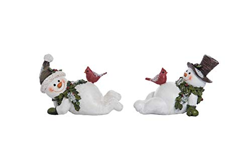 (Transpac Imports D0645 Resin Snowman with Cardinal Figurines, White )