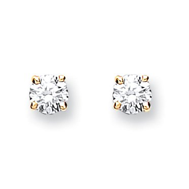 Jareeya - Solitaire Diamant Boucles d'oreille à tige, Or jaune 9 ct, diamants 0,15 CT