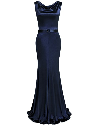 (MUXXN Ladies Celebrity Drape Neck Strap Bridesmaid Prom Summer Maxi Dress(Blue M))