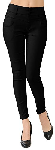 Mid-Rise Skinny Stretch Pull-On Casual Dress Ankle Pants (Black, S/M) (Ladies Ankle Pants)