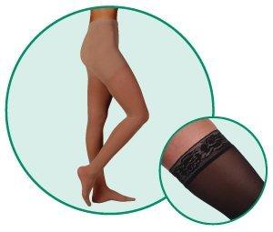 Juzo Hostess Pantyhose With High Elastic Body Part 20-30mmHg Closed Toe, IV, Black by Juzo by Juzo