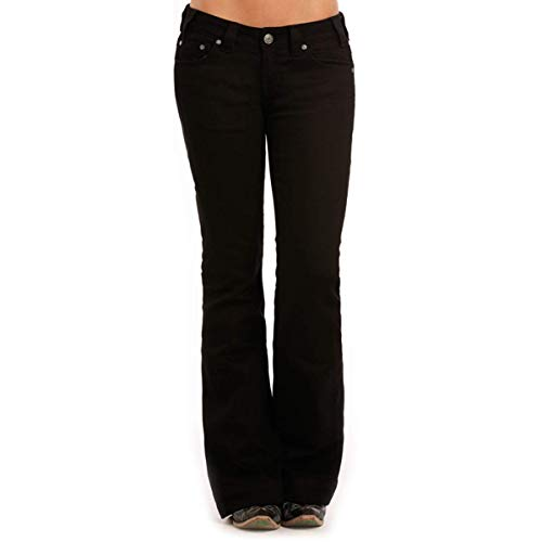 Rock & Roll Cowgirl Trouser Low-Rise Bartack Jean (26x34) - W8-9640 Black