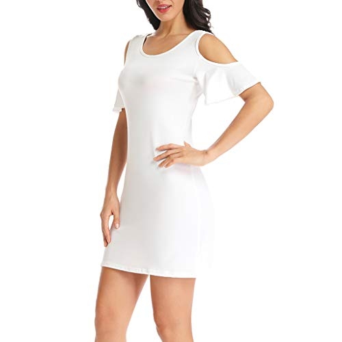 LIM&Shop Women Dress  Plus Size Mini Dress Casual Short Sleeves Lace Shirt Cold Shoulder Strapless Top Maxi Dress White