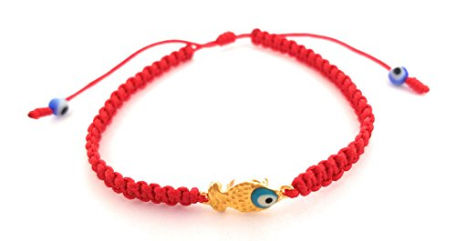 Fish Bracelet Ichthus - Lucky Charms USA Red String Bracelet with Goldtone Fish and Teal Enamel Evil Eye for Protection