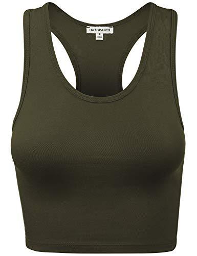 (HATOPANTS Women's Cotton Racerback Lingerie Camisoles Basic Crop Tank Tops DARKOLIVE L)