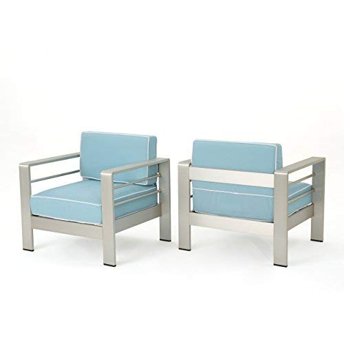 Christopher Knight Home Crested Bay Outdoor Silver Aluminum Framed Club Chairs with Light Teal and White Corded Water Resistant Cushions Set of 2