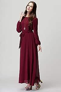 Red Chiffon Casual Dress For Women