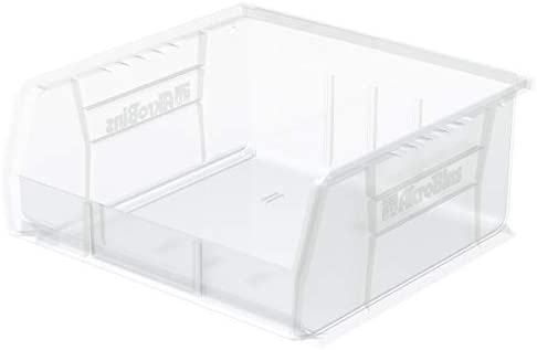Akro-Mils 30235 AkroBins Plastic Storage Bin Hanging Stacking Containers, 11-Inch x 11-Inch x 5-Inch , Clear, 6-Pack