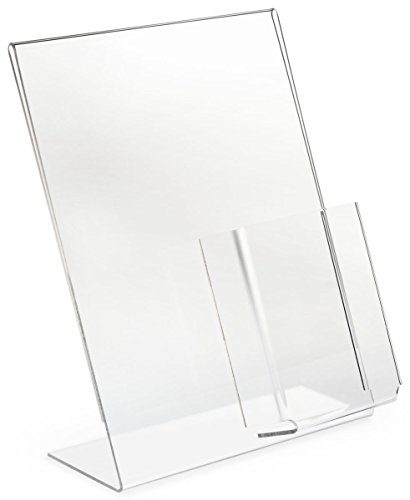 Displays2go Set of 10, Sign Frames for 8-1/2 x 11 Inches Prints and 4w Brochure Dispensers, Literature Displays with Slant Back Style, Slide in Signage from The Side (8511ASHC)