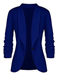 SEBOWEL Women's Casual Blazer 3/4 Ruched Sleeve Slim Fitted Office Jacket Suits