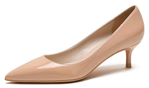 CAMSSOO Women's Low Heel D'Orsay Slip On Pointed Toe Dress Pumps Shoes Nude PU Size US9.5 EU43