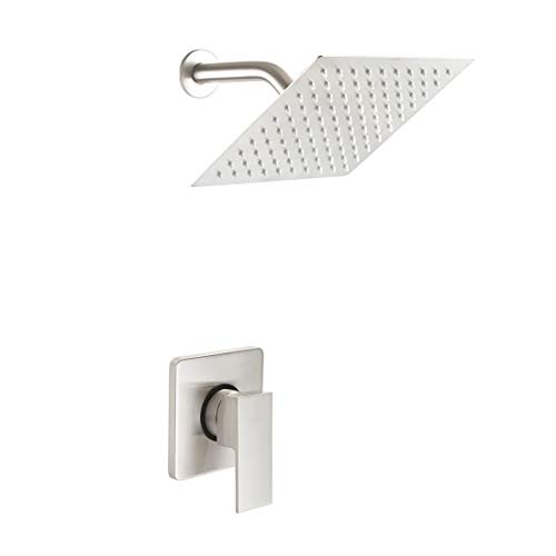 POP Single Function Shower Trim Kit with Rough-in Valve, Bathroom Rain Shower Set Bath Rainfall Shower Faucet System with Square Stainless Steel Metal Showerhead, Brushed Nickel
