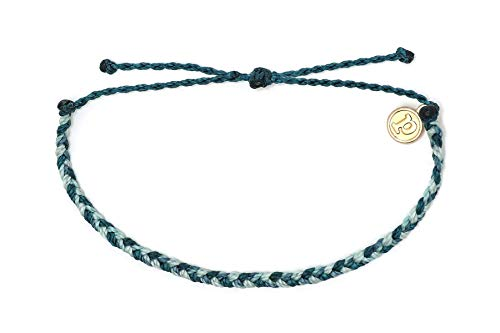 Pura Vida Mini Braided Blue Ocean Beaded Bracelet - Silver Plated Charm, Adjustable Band from Pura Vida