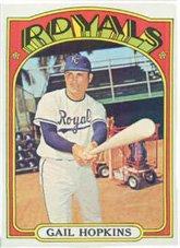 - 1972 Topps Regular (Baseball) card#728 Gail Hopkins of the Kansas City Royals Grade Very Good