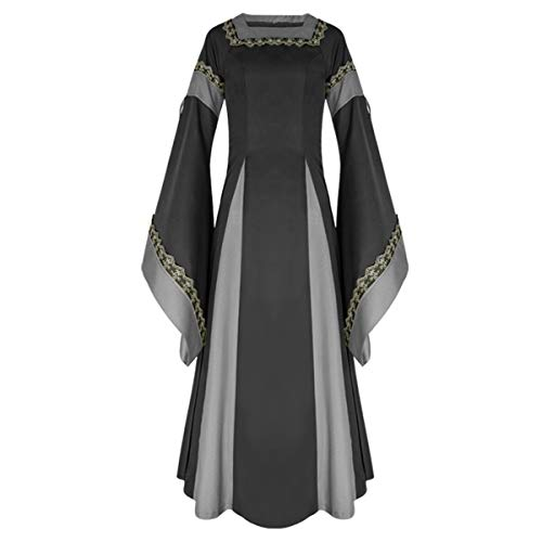 iCos Women Medieval Long One-Piece Royal Dress Renaissance Belle Sleeve Retro Gown Halloween Costume (Large, Black)
