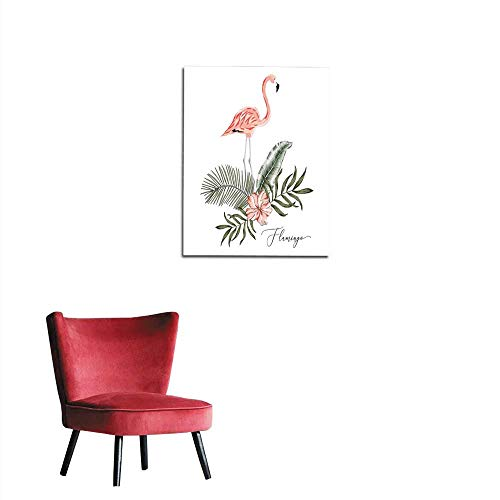 photo wall paper Pink flamingo palm leaves hibiscus flowers bouquet white background Vector floral print Tropical illustration Exotic plants and bird Summer beach paradise nature Postermural 16