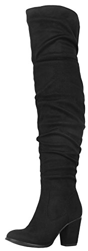 Refresh Footwear Slouch Western Thigh High Over The Knee Chunky Black Heel Boot (7.5 B(M) US, Black) by Refresh Footwear