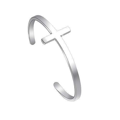 Jeka Cross Bracelet Cuff Bangle Stainless Steel Sideways Christian Religious Jewelry Gift for Women Girls