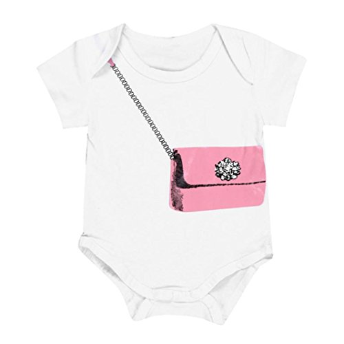 - GBSELL Newborn Infant Baby Boy Girl Short Sleeve Wallet Pattern Romper Jumpsuit Clothes (White, 12-18 Month)