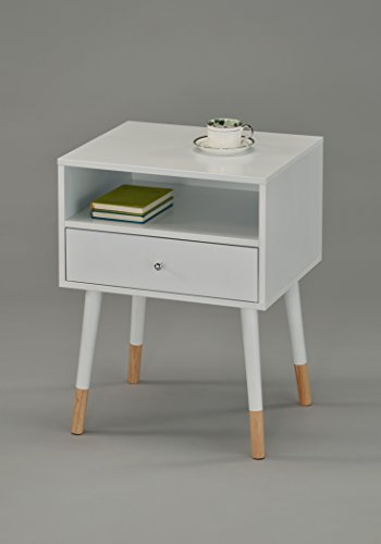 Natural Finish Desk (White Finish Nightstand Side End Table with Drawer and Natural Color Legs)