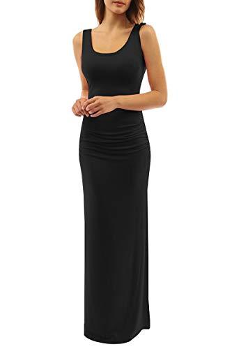 YMING Women's Stretch Bodycon Dress Maxi Evening Party Dress Black L