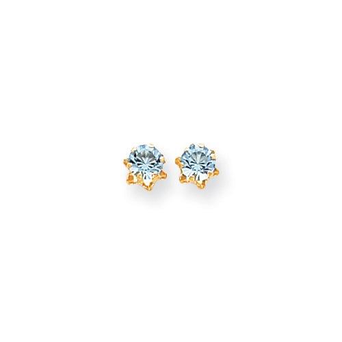 5mm Synthetic Aquamarine Birthstone Stud Earrings in 14K Yellow - Stud Earrings Aquamarine Bezel