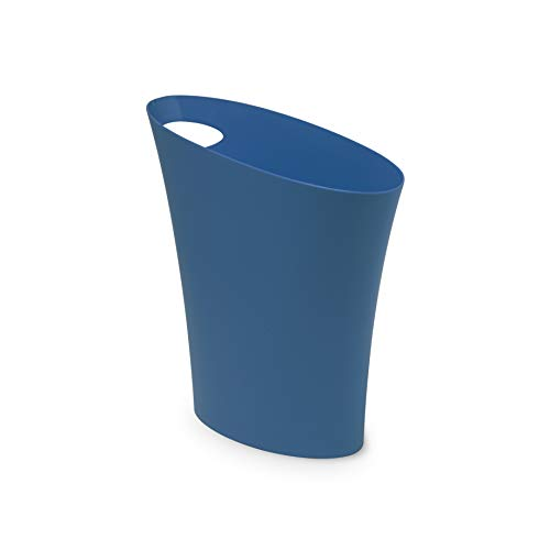 Umbra Skinny Sleek & Stylish Bathroom Trash, Small Garbage Can Wastebasket for Narrow Spaces at Home or Office, 2 Gallon Capacity, Lagoon Blue, Single Pack,