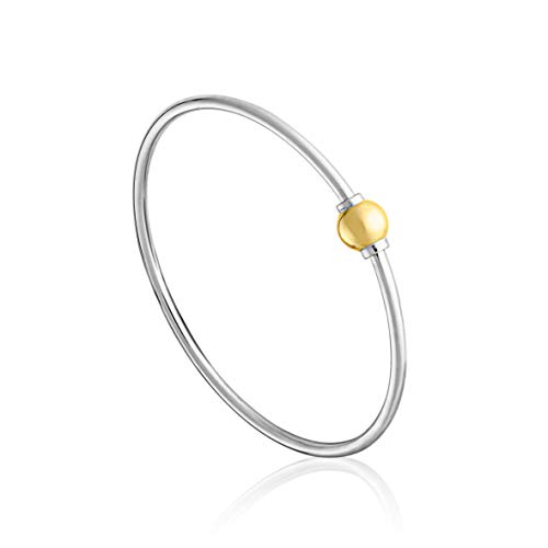 The Traditional Sterling Silver & 14K Yellow Gold Clad Single Ball Threaded Bracelet from Cape Cod...FLEX Style, 8