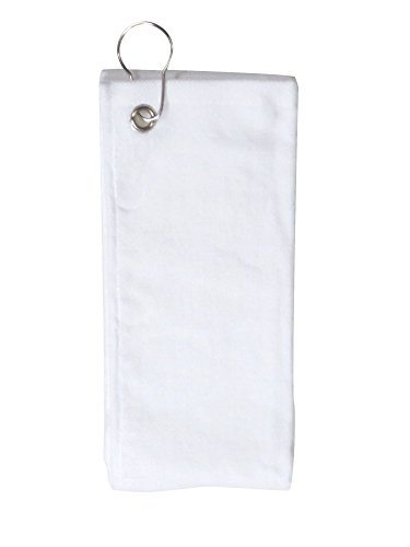 Simplicity 100% Cotton Terry Sports Golf Towel with Grommet and Hook, White