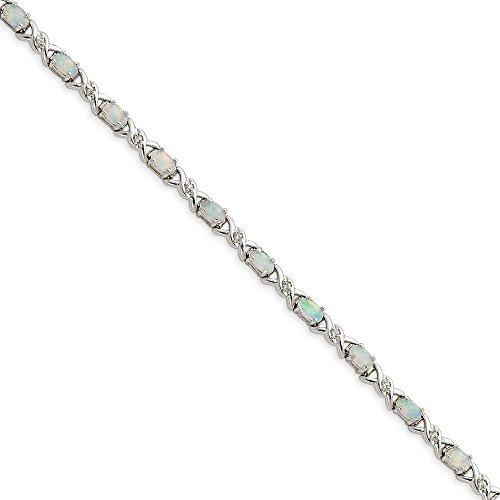 Argent Sterling a créé Opal-CZ Blanc-Bracelet et 7 mm-Fermoir-JewelryWeb
