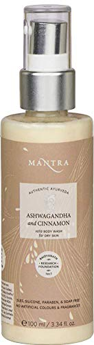 Mantra Authentic Ayurveda Ashwagandha and Cinnamon Vata Herbal Ayurveda Body Wash for Dry Skin FREE from chemicals, Silicon, Paraben, and Paraffin (100 ml / 3.38 fl oz)