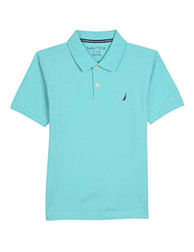 (Nautica Toddler Boys' Short Sleeve Solid Deck Stretch Polo, Anchor Pool Blue, 3T)