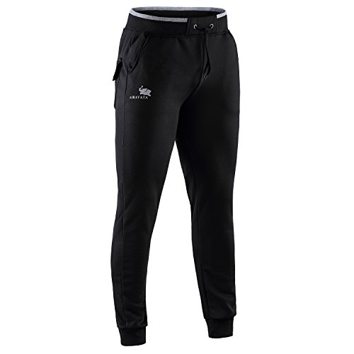 AIRAVATA Men's Drawstring Elastic Waistband Closed Bottom Running Joggers Pants Black M