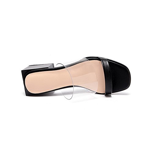 Amoonyfashion Womens Open Toe Gattini Tirati Su Solide Pantofole Nere