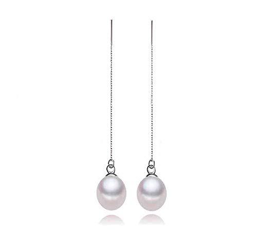 (Rakumi Oval White Freshwater Pearl Dangle Earrings Women Earrings Threader Dangle Drop Earrings )