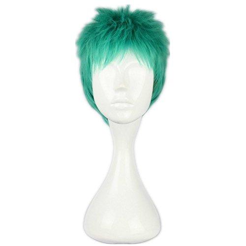 [Cosplay Wigs Short Green Roronoa Zoro ONE PIECE Anime Costume Party Show Hair 30cm] (Roronoa Zoro Costumes)