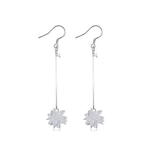 Ice Flower Snowflake Drop&Dangle Cubic-zirconia Threader Earrings